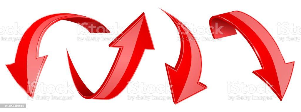 Jeu de flèches rouges. icônes du web 3D jeu de flèches rouges icônes du web 3d vecteurs libres de droits et plus d'images vectorielles de couleur libre de droits