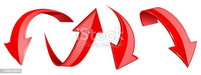 Red arrows set. 3d web icons. Vector illustration isolated on white background