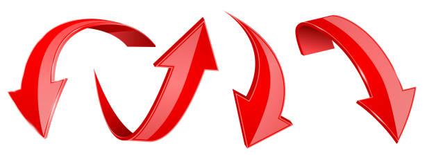 紅色箭頭設置。3d 網站圖示向量藝術插圖