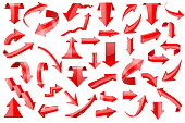 Red arrows. Set of shiny 3d icons isolated on white background. Vector illustration