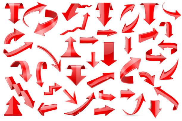 紅色箭頭。在白色背景上隔離的閃亮的3d 圖示集向量藝術插圖