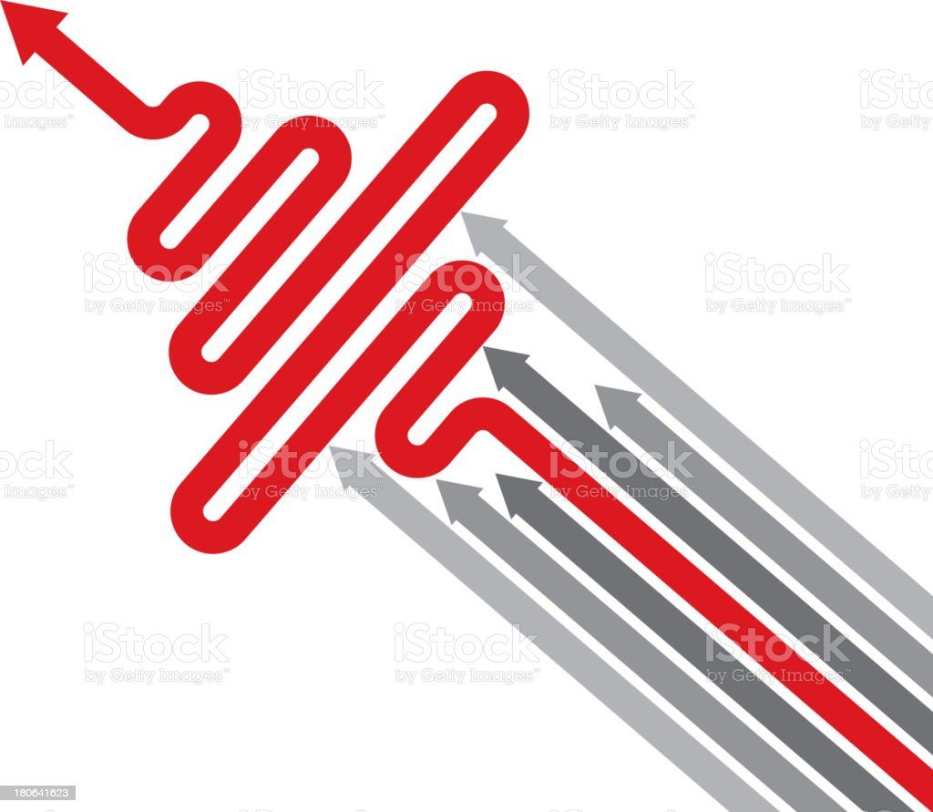Red arrows to block other arrow, unfair! royalty-free stock vector art