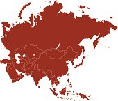 Red Asia map with national boundary clearly drawn