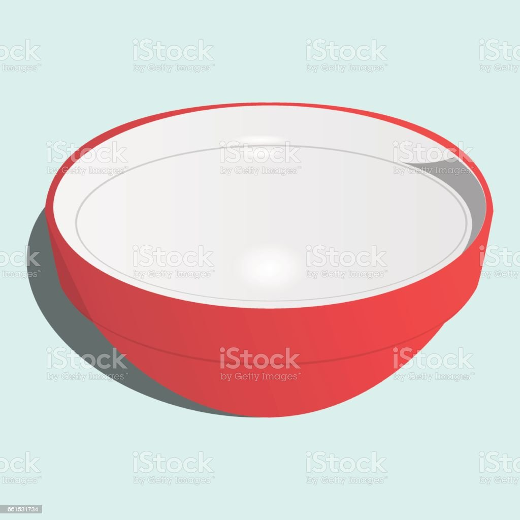 Red asian bowl vector art illustration