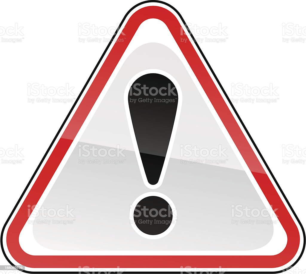 Red attention warning sign black exclamation mark pictogram triangular shape royalty-free stock vector art