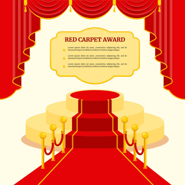 red award carpet - oscars stock illustrations, clip art, cartoons, & icons