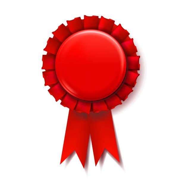 Red Award Ribbon Vector. Champion Medal. Honor Icon. Retro Element. 3D Realistic Illustration Red Award Ribbon Vector. Winner Badge. Ceremony Design. Poster, Card, Flyer 3D Realistic Illustration flower head stock illustrations