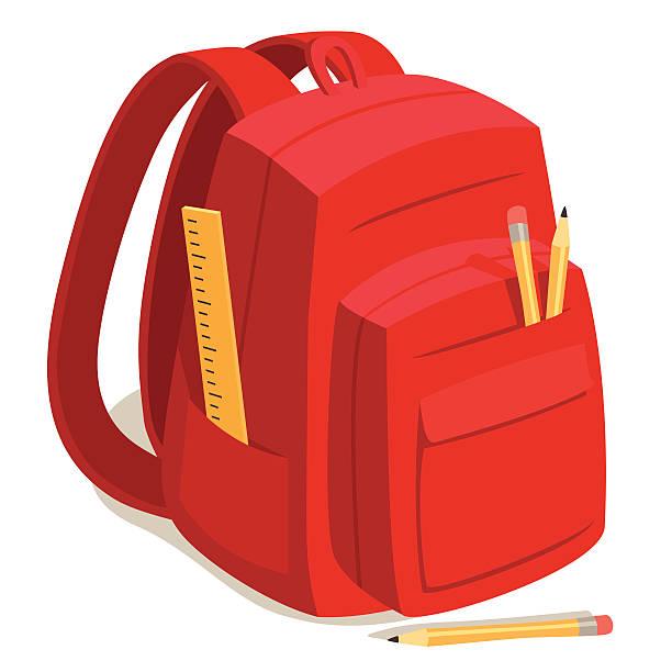 Bекторная иллюстрация Красный Рюкзак Back to School