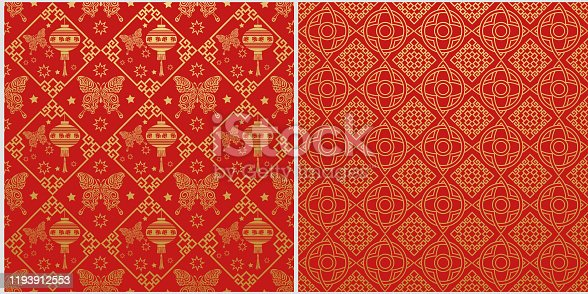 istock Red background. Chinese new year. Set of 2 templates for your design 1193912553