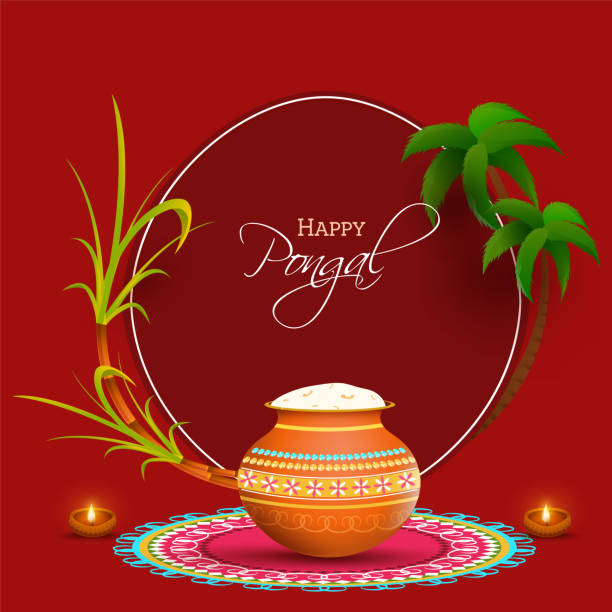 Red Background Decorated With Sugarcane, Palm Tree, Lit Oil Lamps (Diya) And Pongali Rice Mud Pot At Rangoli For Happy Pongal Celebration. vector art illustration