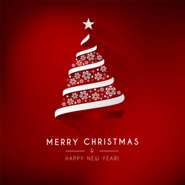 Red background with a white Christmas tree. – artystyczna grafika wektorowa