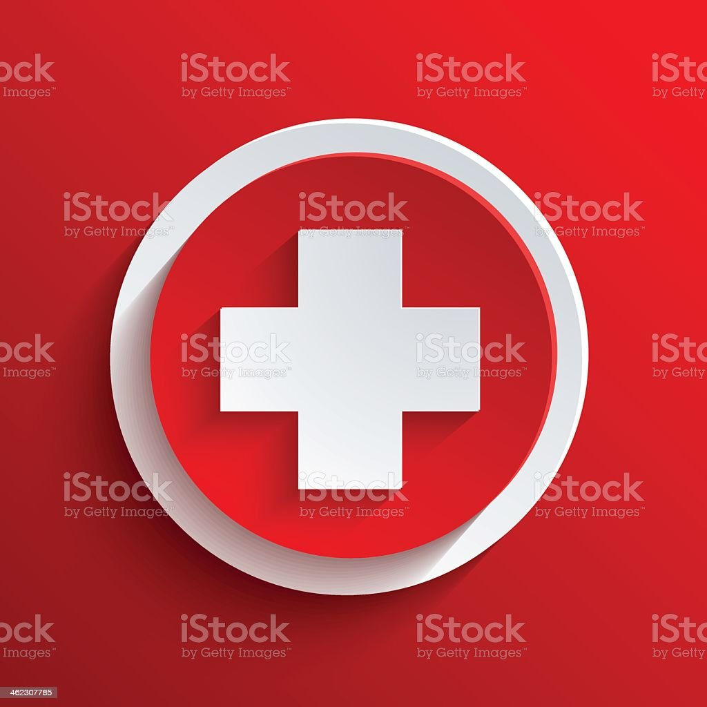 Red background with circle icon vector art illustration