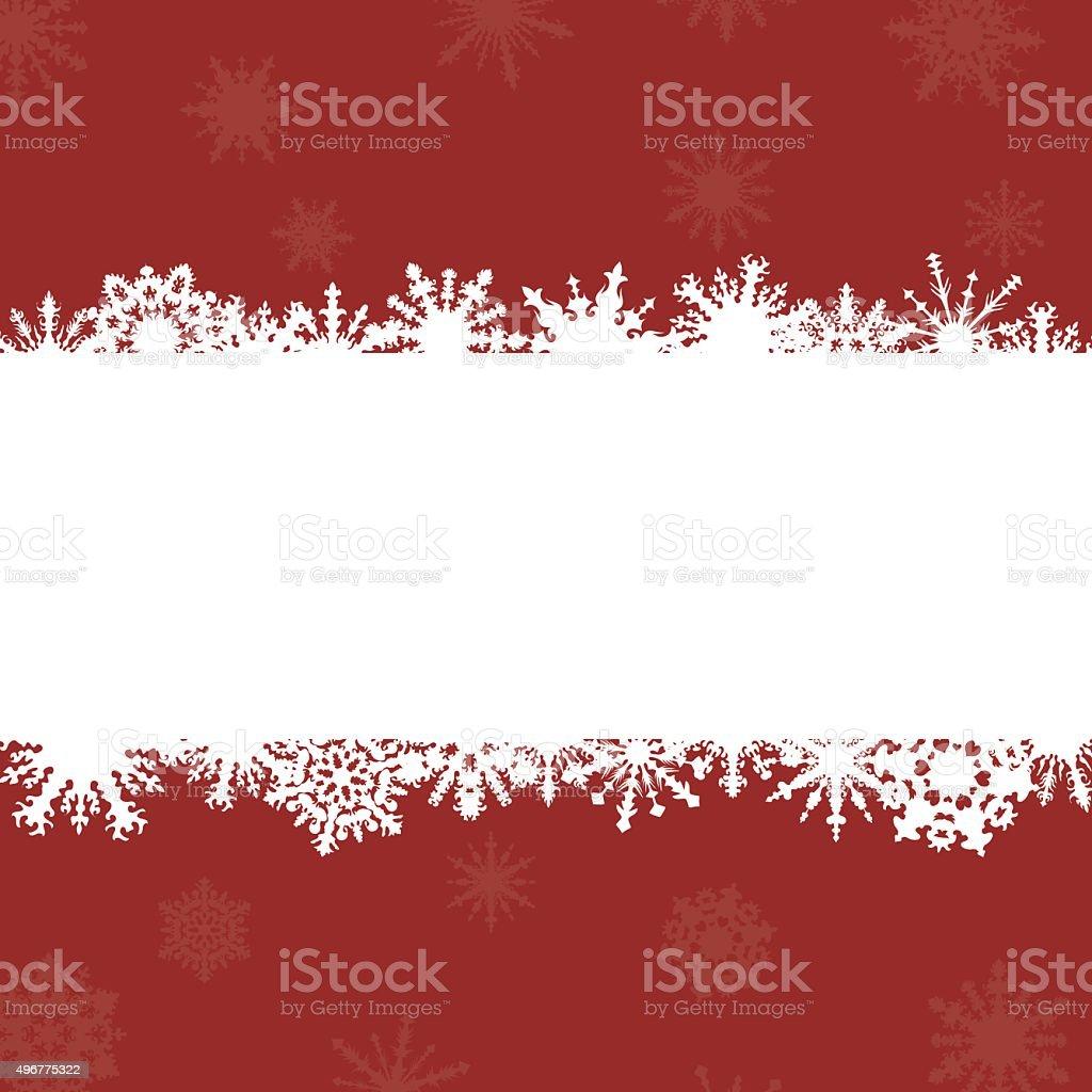 Roter Hintergrund Mit Rahmen Für Glückwünsche Und Schneeflocken ...