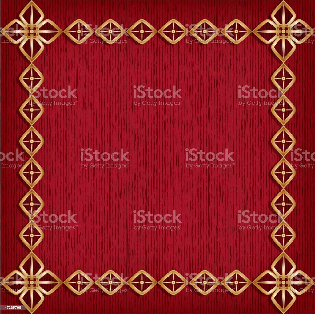 Red background with golden frame royalty-free stock vector art