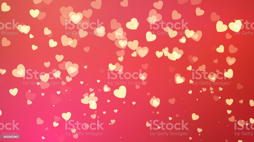 Red Background With Golden Heart Confetti Valentines Day Greeting Card Wedding Invitation Party