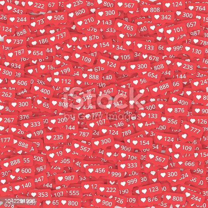 Red background with likes meter with hearts signs. Vector illustration.