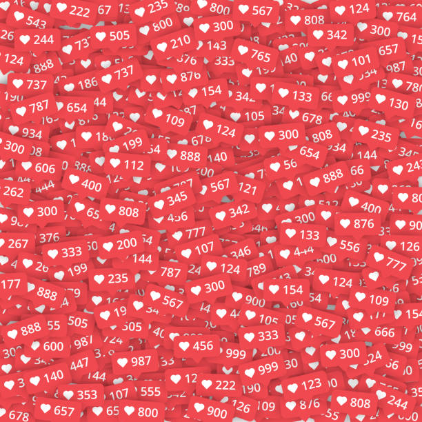 red background with likes meter with hearts. - kiss stock illustrations