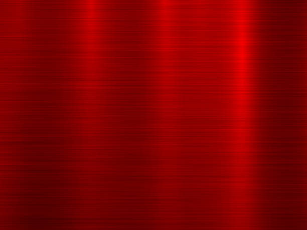 czerwone tło z metalową teksturą - metal stock illustrations