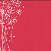 Pink background with white hand drawn flowers and butterflies.