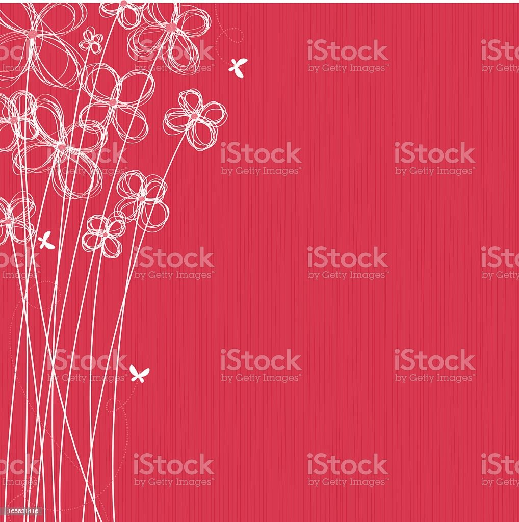 Red background with white flowers illustration vector art illustration