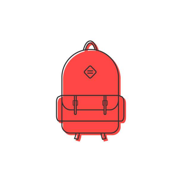 stockillustraties, clipart, cartoons en iconen met rode rugzak dunne lijn pictogram - schooltas