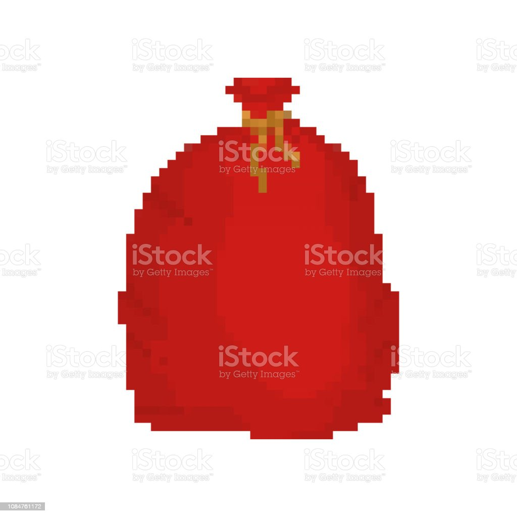 赤バッグ サンタ クロース ピクセル アート。贈答用 8 ビット大袋休日。新年とクリスマスのビデオゲーム大きな一袋 ベクターアートイラスト