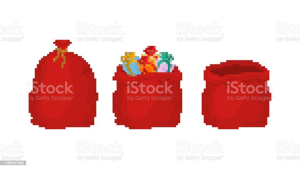 赤バッグ サンタ クロース ピクセル アートを設定します。贈答用 8 ビット大袋休日。新年とクリスマスのベクトルの一袋を大きなビデオ ゲーム ベクターアートイラスト