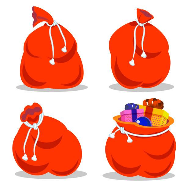 stockillustraties, clipart, cartoons en iconen met rode zak santa claus instellen. grote zak vakantie voor geschenken. grote zak voor nieuwjaar en kerstmis - zak tas