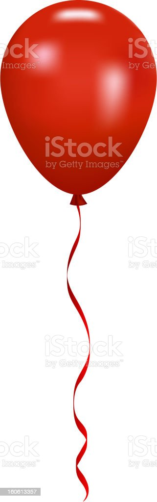 Red balloon floating upward to the sky vector art illustration