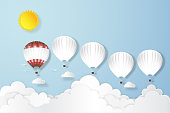 Red balloon leadership team flying under blue sky and sunny as business leader , paper art, craft style and business, journey and travel concept. vector illustration.