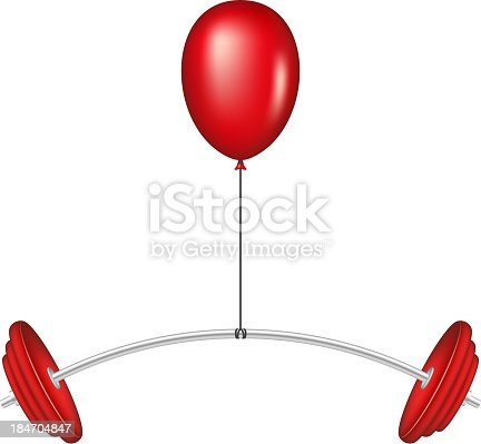 Red balloon lifting a heavy barbell on white background