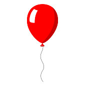 Red balloon on white background. Vector Illustration.