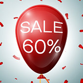 Red Balloon with 60 percent discounts. SALE concept for shops store market, web and other commerce. Vector illustration.