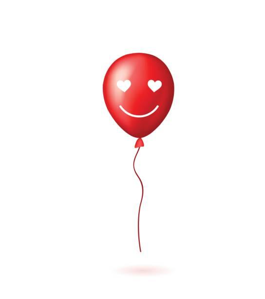 illustrations, cliparts, dessins animés et icônes de ballon rouge avec sourire charmant visage. - ballon anniversaire smiley