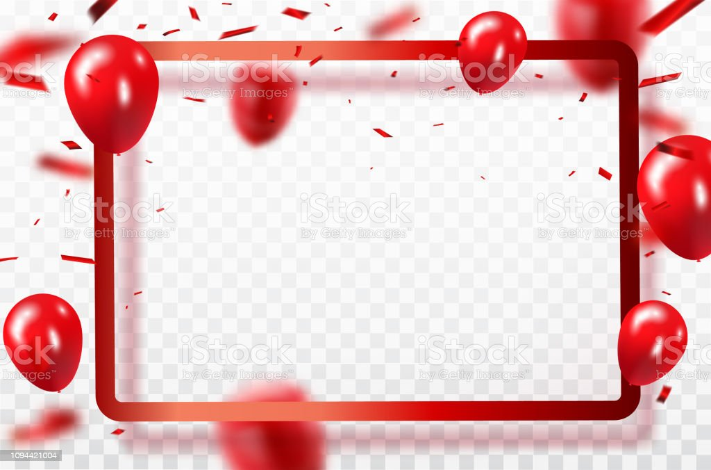 Red balloons, confetti concept design template Happy Valentine's Day, background Celebration Vector illustration. vector art illustration