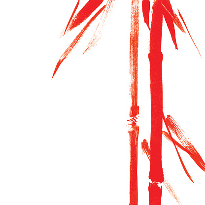 Red bamboo. Calligraphy.