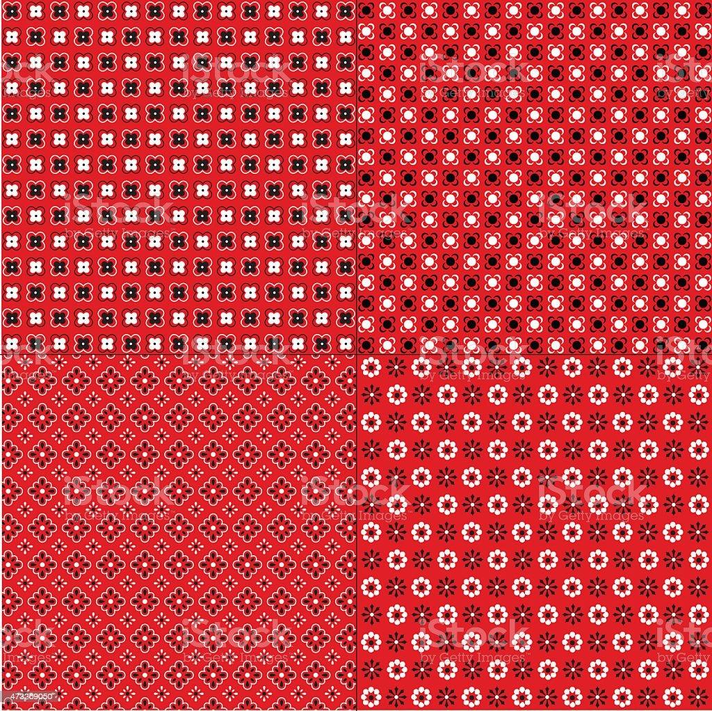 Red Bandana Patterns vector art illustration