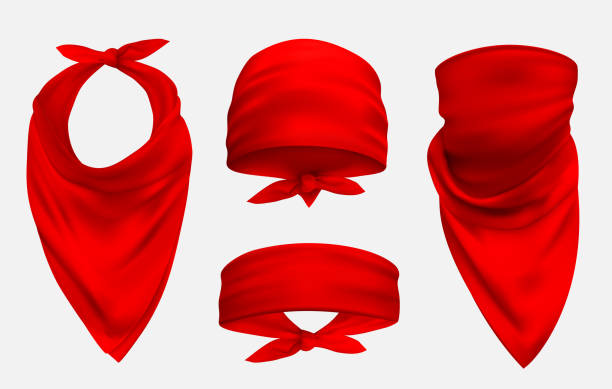 Red bandana realistic 3d accessory illustrations set vector art illustration