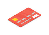 Red bank credit card isolated isometric 3D icon.