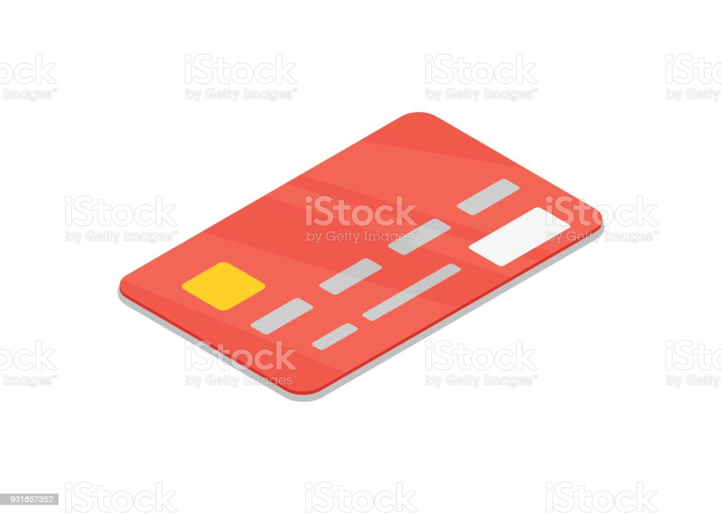 Red bank credit card isolated isometric 3D icon. vector art illustration