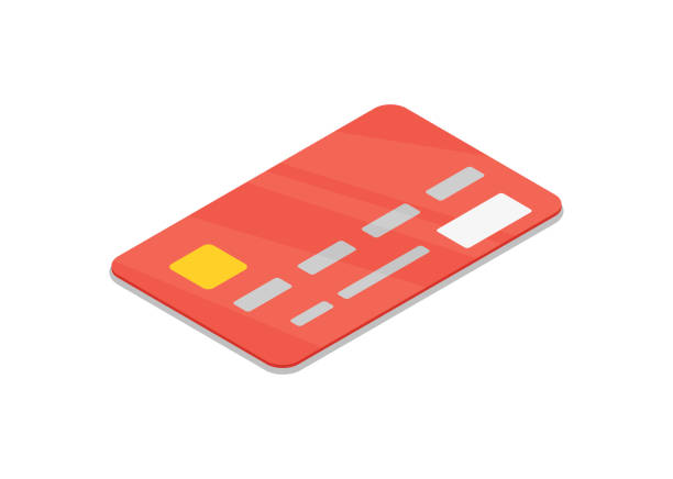 red bank credit card isolated isometric 3d icon. - credit cards stock illustrations, clip art, cartoons, & icons