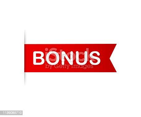 Red banner bonus. Ribbon bonus on white background. Vector stock illustration.
