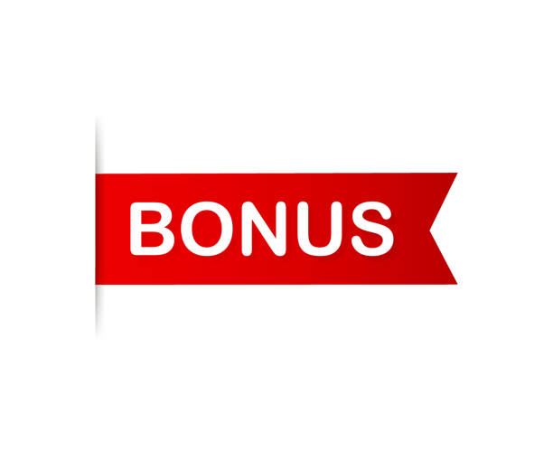 Red banner bonus. Ribbon bonus on white background. Vector illustration. Red banner bonus. Ribbon bonus on white background. Vector stock illustration. perks stock illustrations