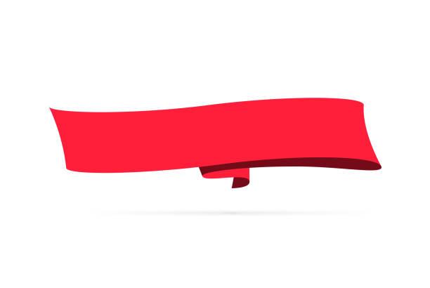 Red banner - Design Element on white background vector art illustration