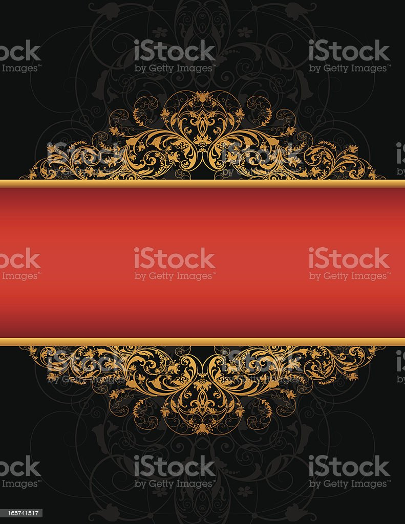 Red Banner Filigree royalty-free stock vector art
