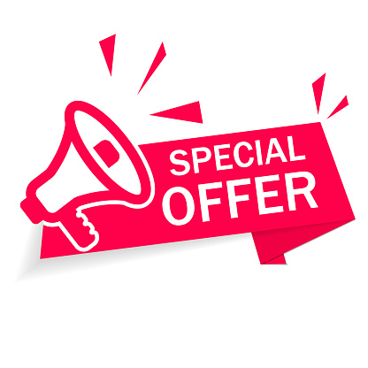 Red banner special offer with megaphone on white background. Ribbon of discount and sale. Modern advertising and promotion in store. Info of Special discount. Retail offer with low price good. Vector