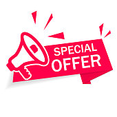 Red banner special offer with megaphone on white background. Ribbon of discount and sale. Modern advertising and promotion in store. Info of Special discount. Retail offer with low price goods. Vector