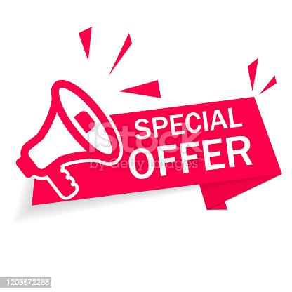 istock Red banner special offer with megaphone on white background. Ribbon of discount and sale. Modern advertising and promotion in store. Info of Special discount. Retail offer with low price good. Vector 1209972288