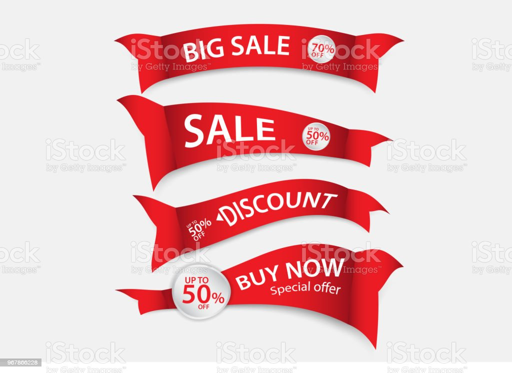 red banner vector sale banner template ribbons flat isolated labels