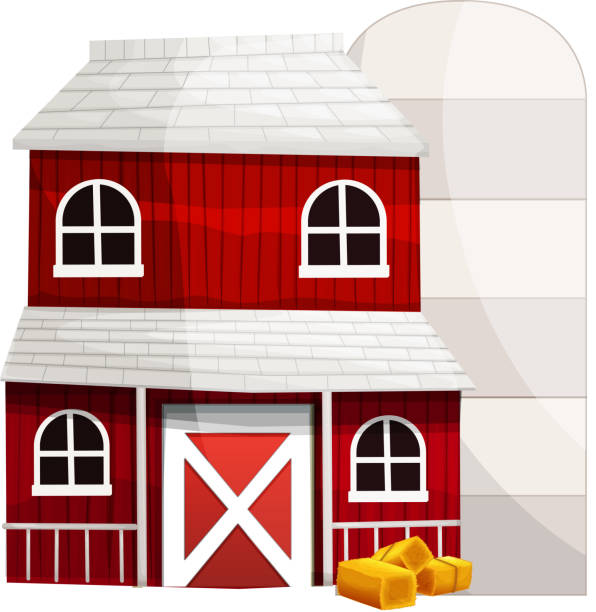 Red Barn And Silo On White Background Vector Art Illustration